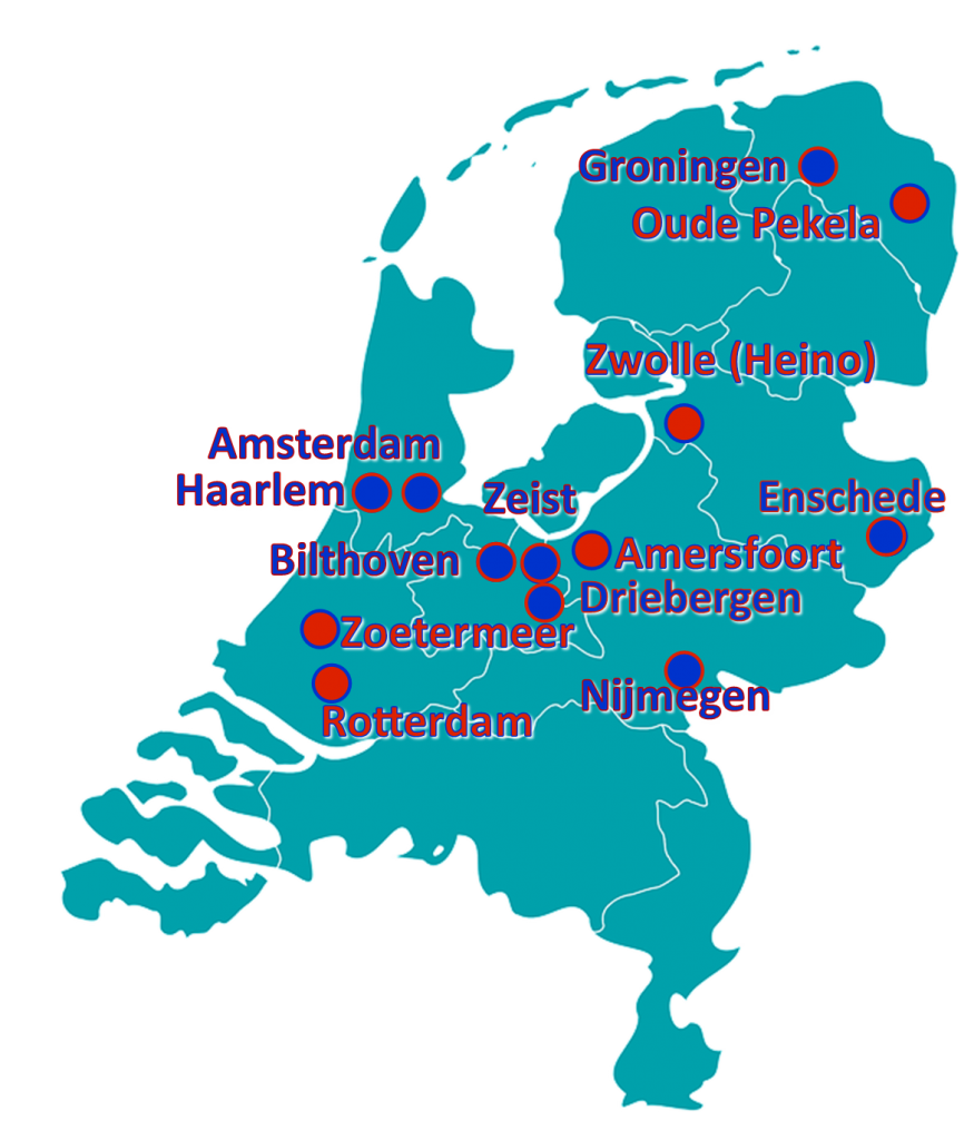 Kamers voor studenten in Groningen, Oude Pekela, Zwolle, Amsterdam, Haarlem, Zeist, Bilthoven, Amdersfoort, Driebergen, Zoetermeer, Rotterdam, Nijmegen, Enschede